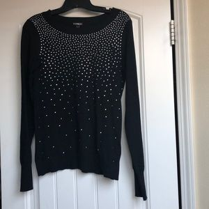 Express Black Bedazzled Sweater